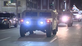 Mass. National Guard, military vehicles guarding streets of downtown Boston