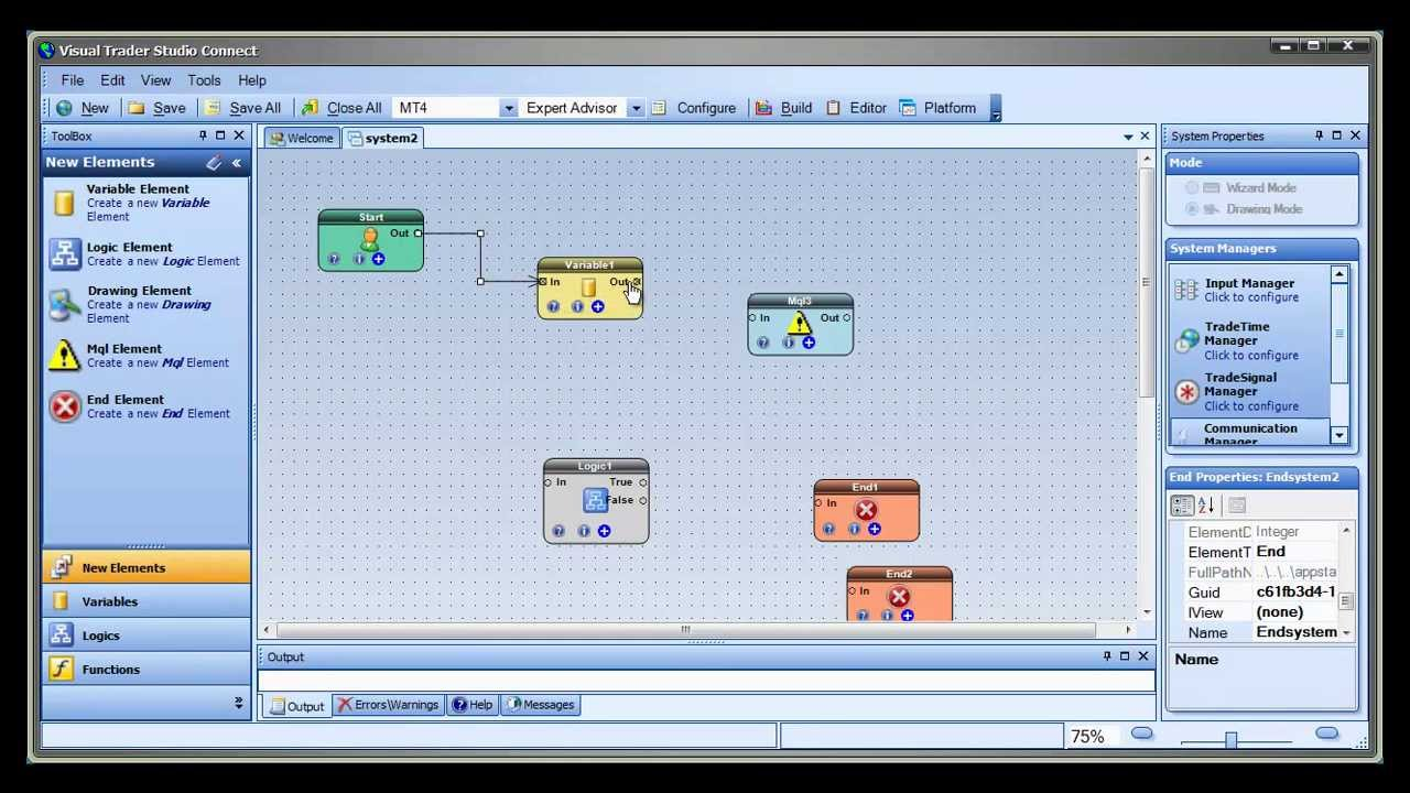 Visual Trader Studio Connect Drag And Drop Metatrader Expert
