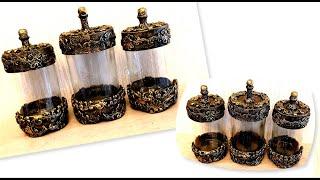DIY /Very beautiful glass jars decor/Decor  with Air Dry Clay