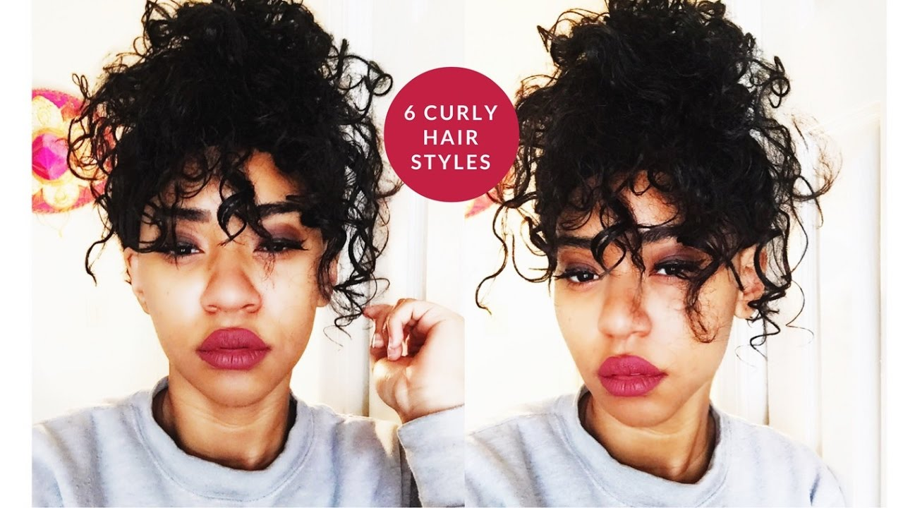 How I Style My Short Curly Hair 6 Styles Youtube