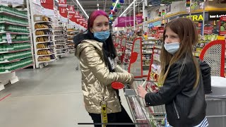 ВЛОГ Вечерний шоппинг в Ашане Что натворили Кира с Лерой мама в ШОКЕ