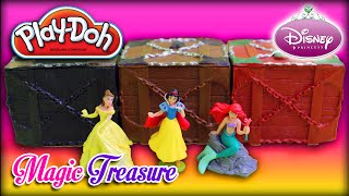 ♥ Play-doh Disney Princess Magic Treasure Boxes (unboxing 3 Mystery Chests)