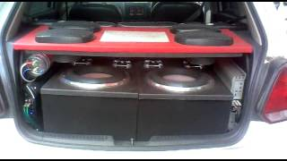 subwoofer test heavy bass system in vw polo by db