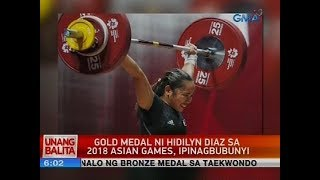 Gold medal ni Hidilyn Diaz sa 2018 Asian Games, ipinagbubunyi