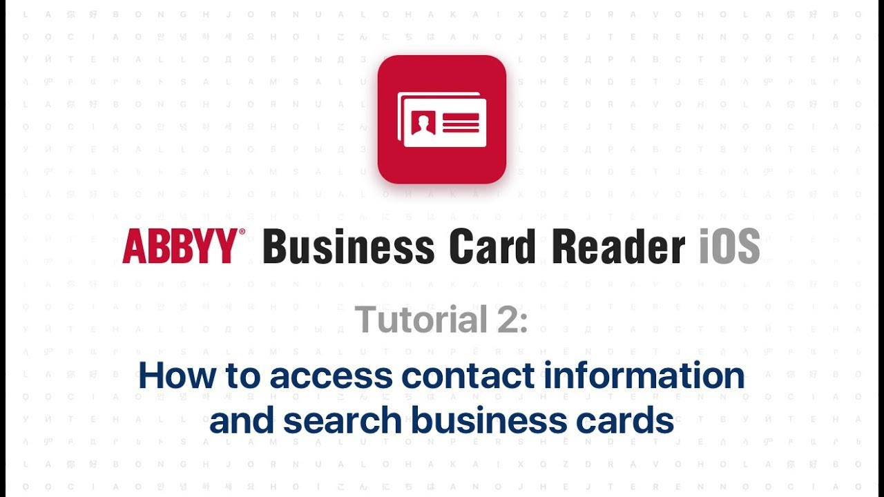 Abbyy Business Card Reader 2 How To Manage Business Cards Youtube