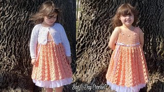 How To Crochet A Toddler Dress With Bolero Cardigan - Part 1 DRESS Bag O Day Crochet Tutorial #580