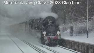 Fast Steam Train in a Snow Storm.