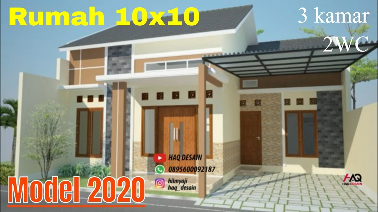 Desain Rumah 2020 Minimalis MODERN Denah 10x10 Meter 1 Lantai 3 Kamar Tidur Ada  Garasi Mobil - YouTube