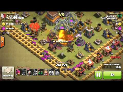Clash of Clans/Wars TH8 3 Stars Dragon,Wizard attack