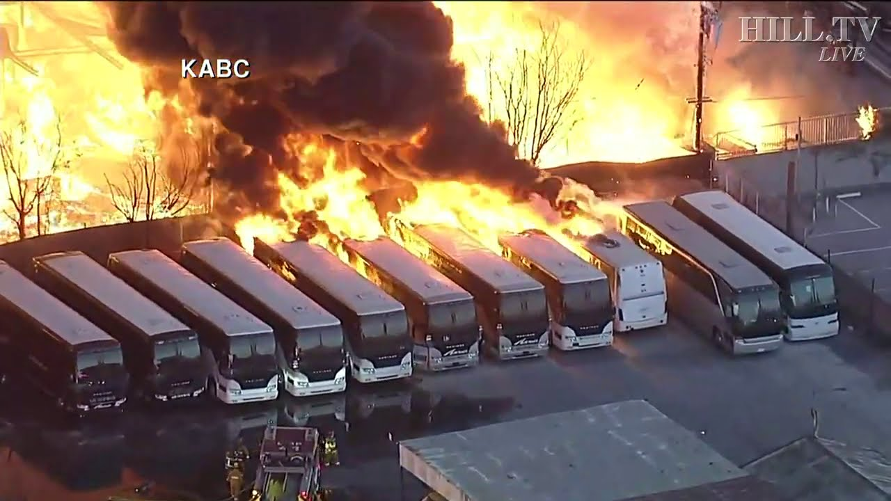 A Massive Fire in Compton Damages Buildings and Buses