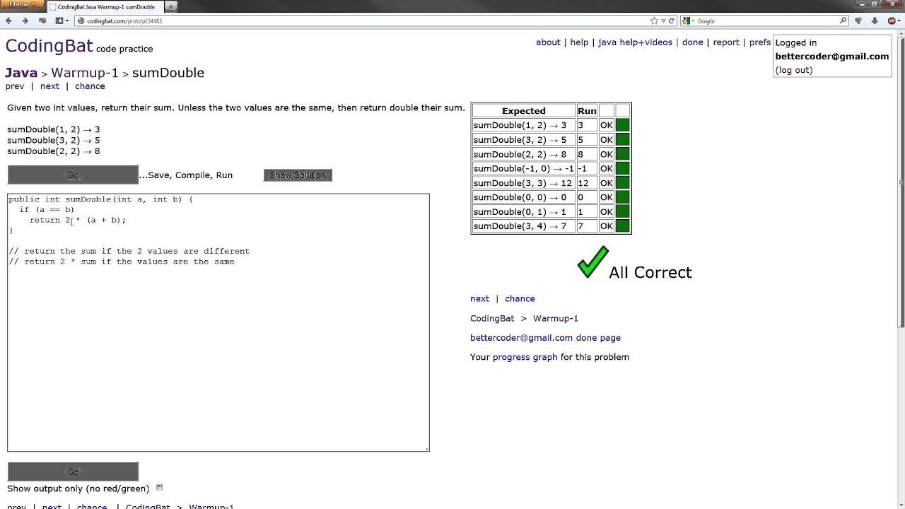 CodingBat - Java Warmup-1 Solution - sumDouble