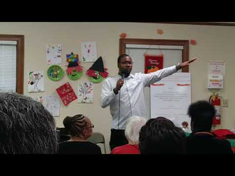 Christian Barnes speaks at Roswell Housing Authority Thanksgiving 2017 Banquet