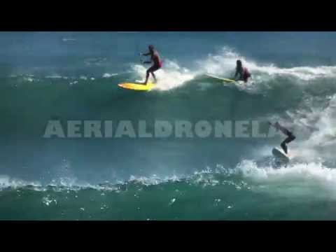 Surfing in Malibu, California during hurricane Marie that hit Malibu on Wednesday 8/27/2014