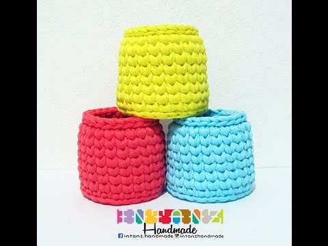 How To Crochet EASY Tshirt Yarn Basket