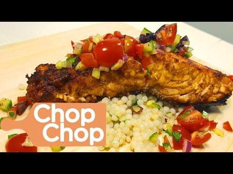 Pan Seared Salmon with Mediterranean Salsa and Couscous | Chop Chop