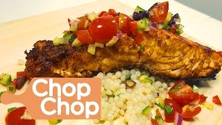 Pan Seared Salmon with Mediterranean Salsa and Couscous