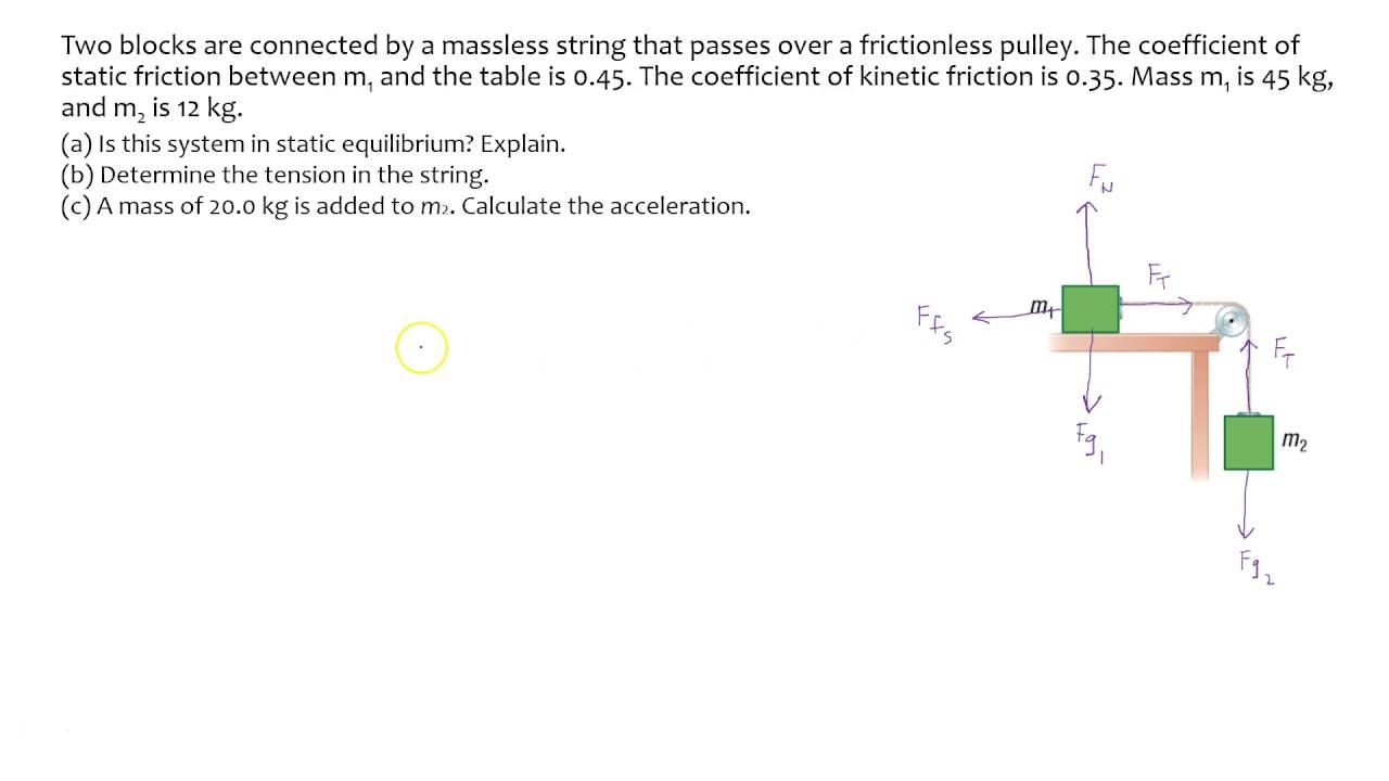 Dynamics Pulley Problem Part 1