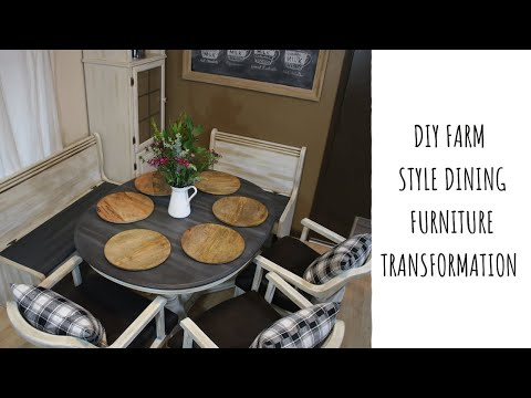 DIY Farm Style Dining Furniture Transformation