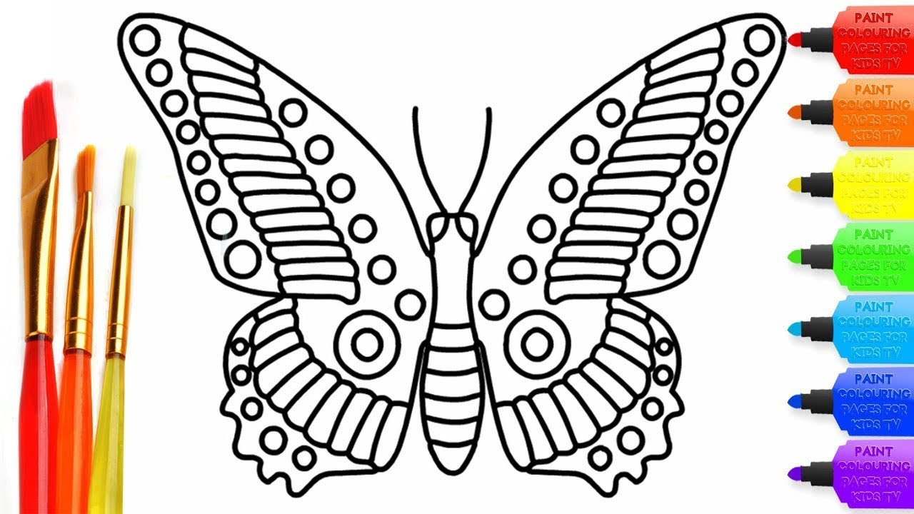 How To Draw Cute Butterfly Coloring Page For Kids I Learn Coloring Book With Cute Butterfly Youtube