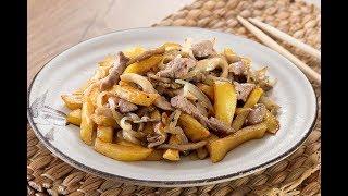 305. Картошка жаренная с мясом и грибами. Вкус из детства.