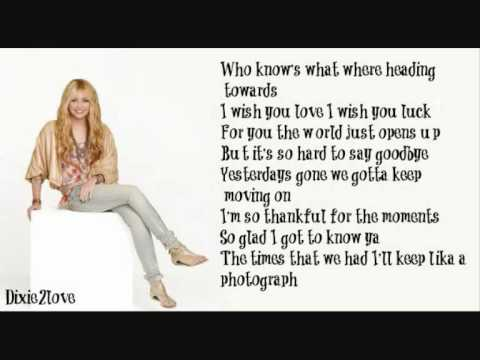 I'll Always Remember You - Hannah Montana (lyrics ...