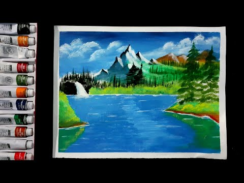 -Easy Landscape Painting with Acrylic Colours   Mountain & Waterfall Scenery  