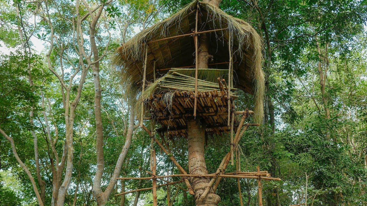 Primitive Technology Build Tree House In Forest Part 02