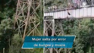 Testigos de la zona captaron el momento en el que la joven, identificada como Yesenia Morales, saltó por error de un viaducto ubicado entre los municipios de Amagá y Fredonia, en el suroeste de Antioquia, en Colombia