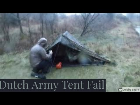 Stealth Camping In The Woods Campfire Rain And Wind Dutch Army Canvas Tent Wild Camping Scotland