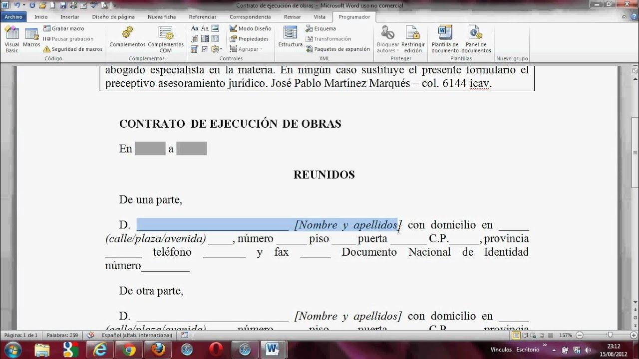 Word 2007 2010, Campo de texto; control de formulario - YouTube