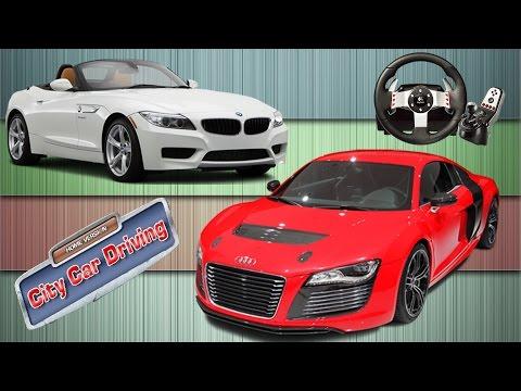 Logitech G27 ile City Car Driving / Audi R8 vs BMW Z4