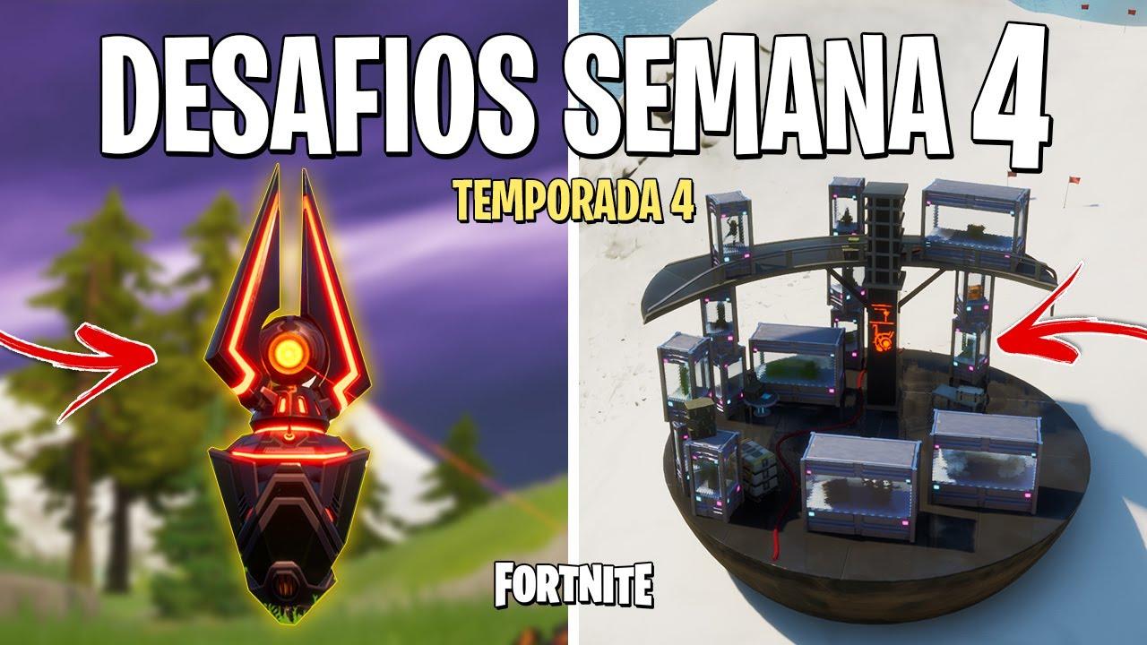 FORTNITE - RESOLVER DESAFIOS SEMANA 4 TEMPORADA 4
