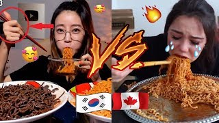Koreans vs. Non-Koreans Mukbangers Eating FIRE NOODLES