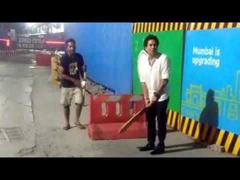 Sachin Tendulkar Playing Cricket On Streets Of Mumbai
