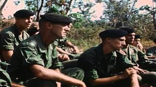 Soldiers of Long Range Reconnaissance Patrol (LRRP) wearing black berets, during ...HD Stock Footage