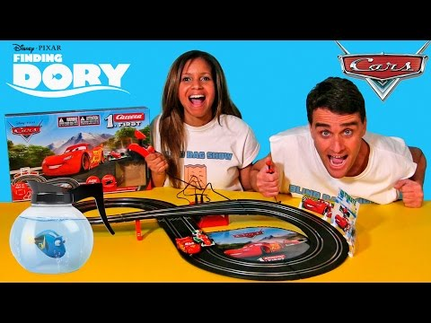 Disney Pixar Cars Slot Racing Track + Finding Dory Mash'ems ! || Blind Bag Show Ep64 || Konas2002