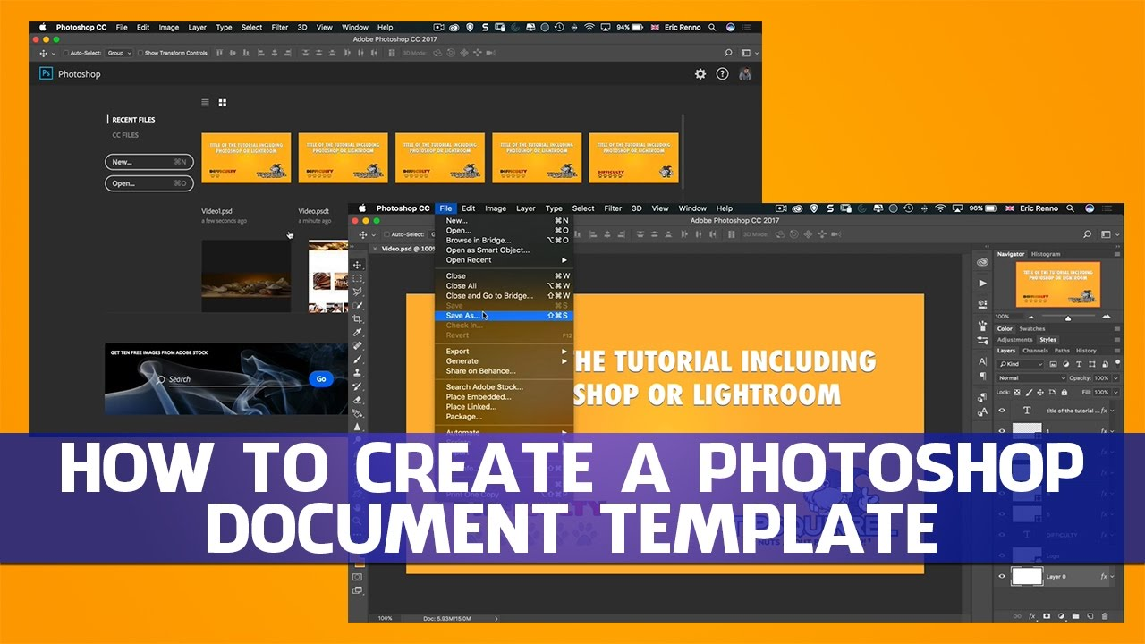 How To Create A Photoshop Document Template YouTube - Create document template