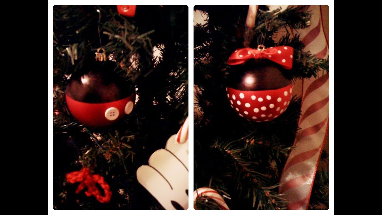 mickey and minnie ornaments tutorial youtube - Minnie Mouse Christmas Ornament