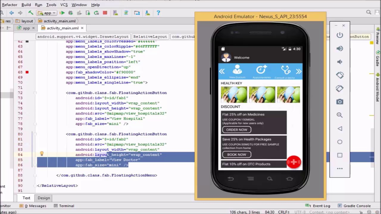 how to create Floating Action Button Example Tutorial Android Studio  Material Designe