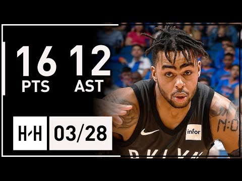 D'Angelo Russell Full Highlights Nets vs Magic (2018.03.28) - 16 Pts, 12 Assists!