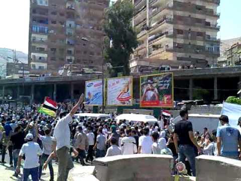 مظاهرة ساحة شمدين بعد التشييع قلب دمشق 16-7-2011