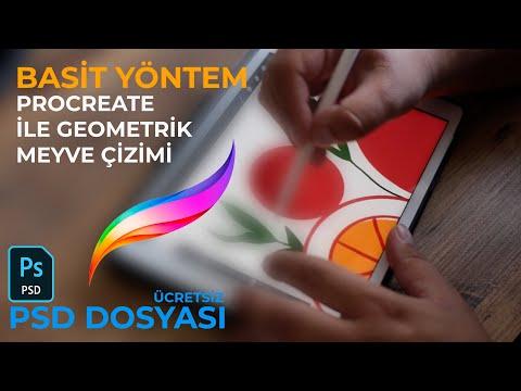 Procreate Geometrik Meyve Çizimi (Ücretsiz PSD Dosyası)
