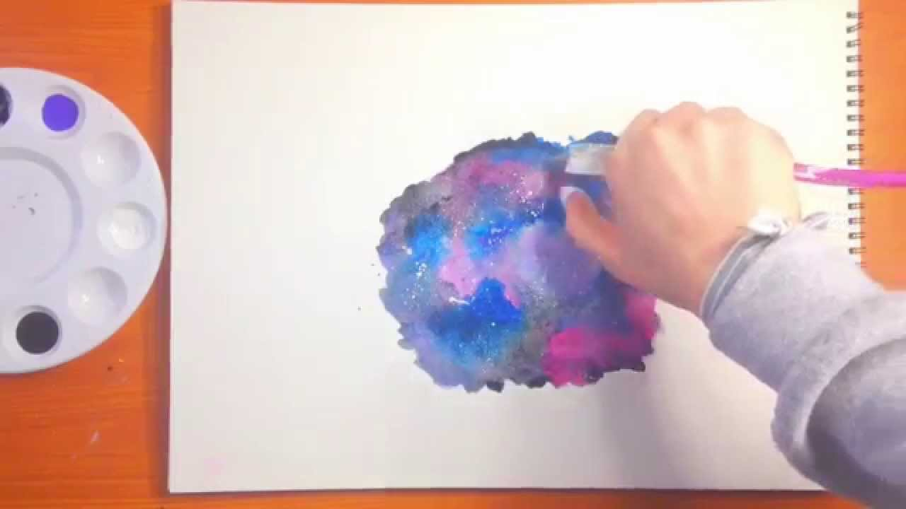 Galaxy watercolor painting tutorial youtube for Video tutorial on watercolor painting