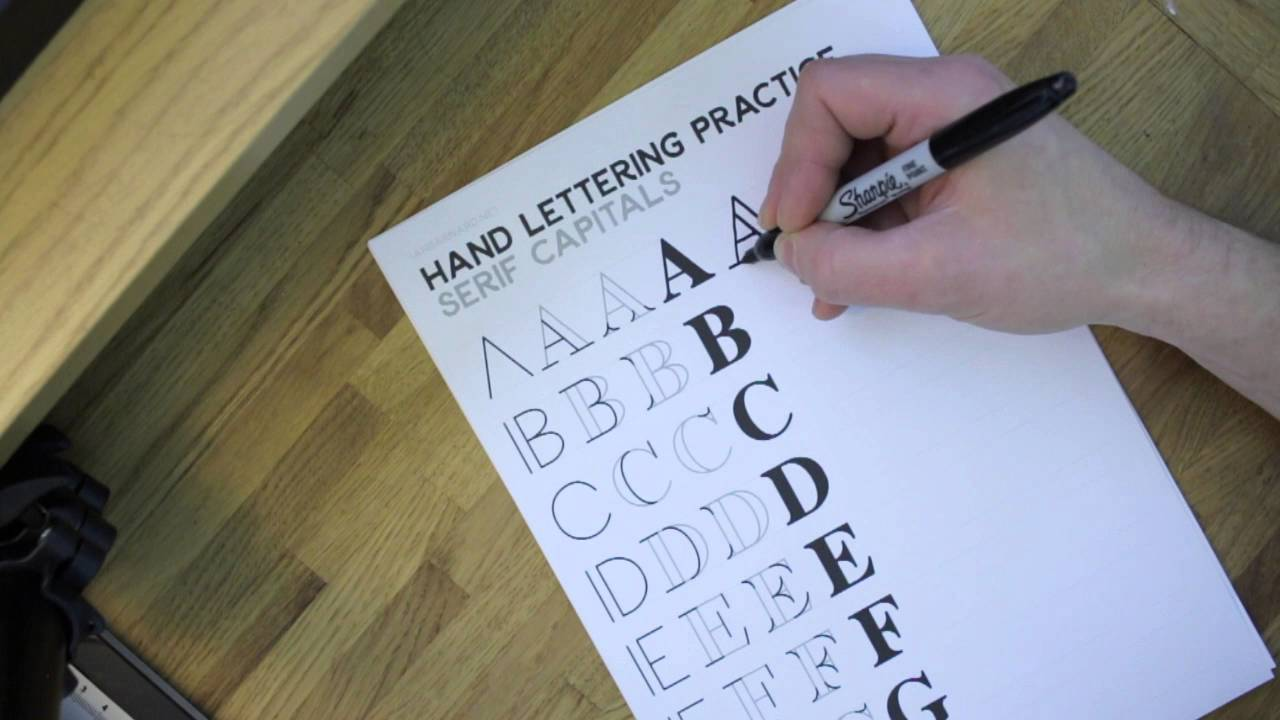 Hand Lettering for Beginners - Serif Capitals Worksheets - YouTube