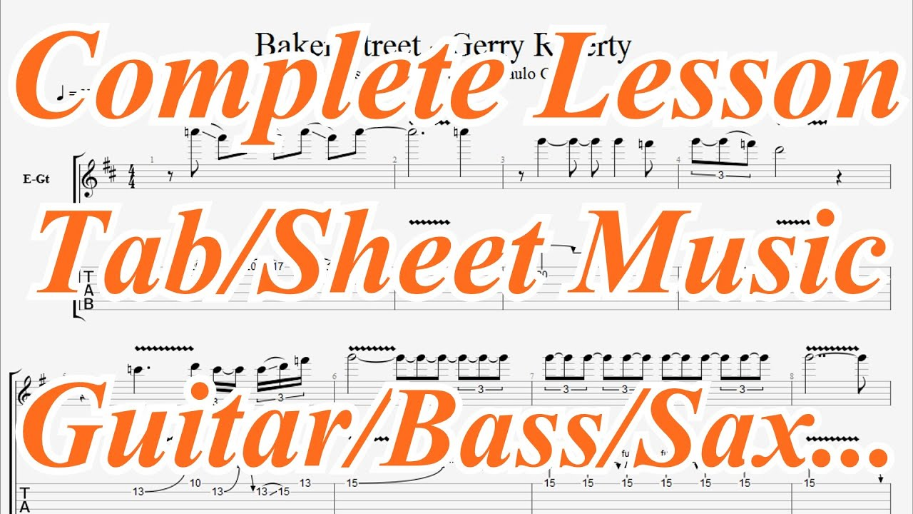 Gerry Rafferty Baker Street Solo Complete Guitar Lesson Tab