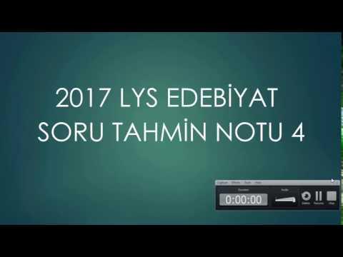 2017 LYS EDEBİYAT SORU TAHMİN NOTU 4
