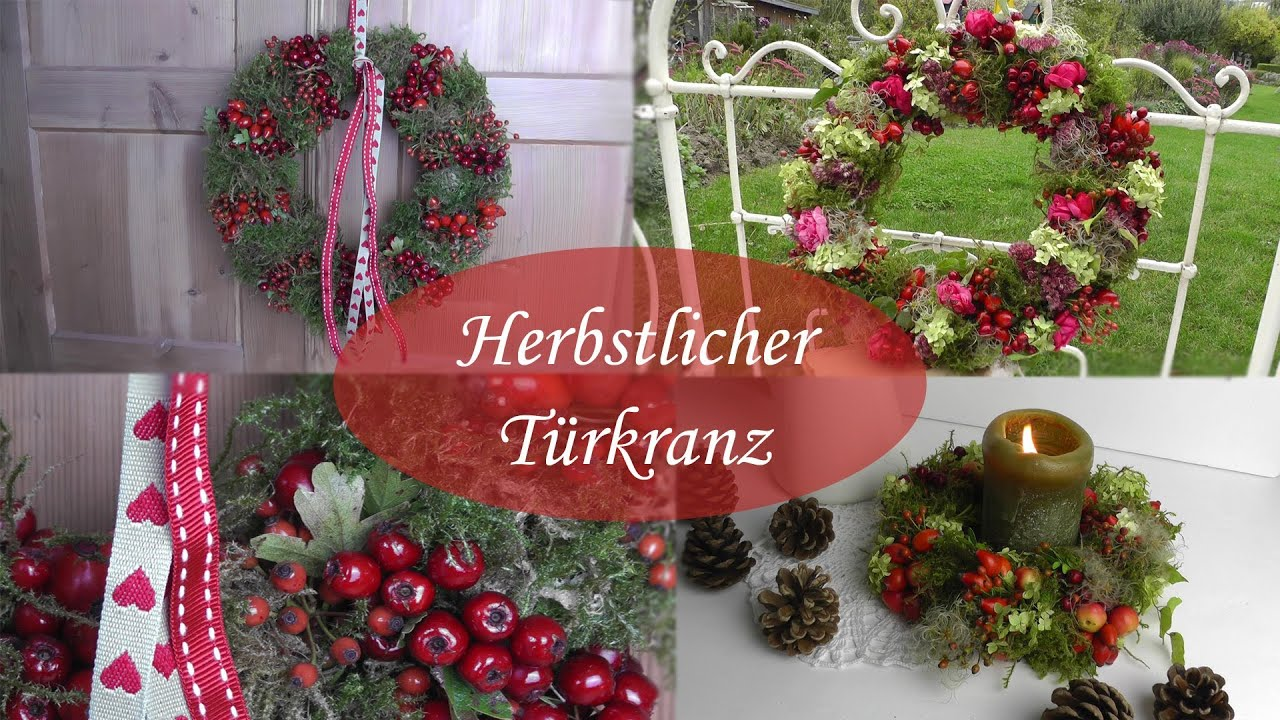 diy herbstdeko selber machen i t rkr nze aus moos hagebutten beeren bl ten binden youtube. Black Bedroom Furniture Sets. Home Design Ideas