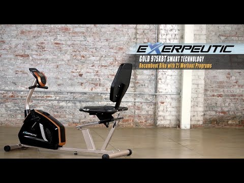 4120 - Exerpeutic GOLD 975XBT Smart Technology Recumbent Exercise Bike with  21 Workout Programs