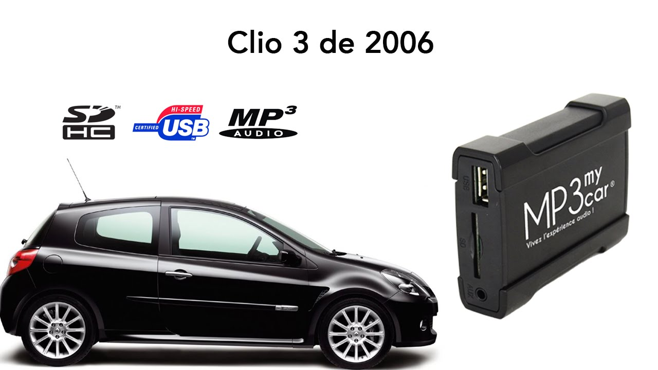 lisez vos cl s usb et cartes sd sur une renault clio 3 de 2006 avec mp3mycar youtube. Black Bedroom Furniture Sets. Home Design Ideas
