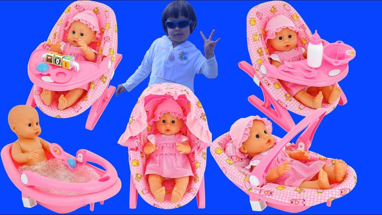 5 In 1 Baby Doll Toy Playset Baby Doll Bath Time Feeding ...
